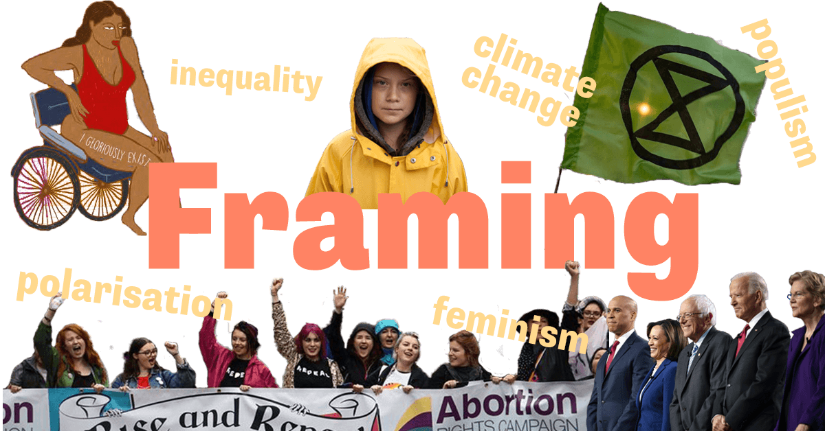 """Collage of Greta Thunberg, abortion rights protestors, extinction rebellion flag, illustrated women in wheelchair and Democratic primary candidates with headlines """"Framing"""", """"polarisation"""", """"feminism"""", """"climate change"""" and """"inequality"""""""