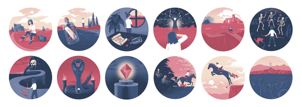 illustrated circles of twelve steps of the Hero's Journey - with an ambigously gendered hero fighting monsters, meeting their mentor, etc.